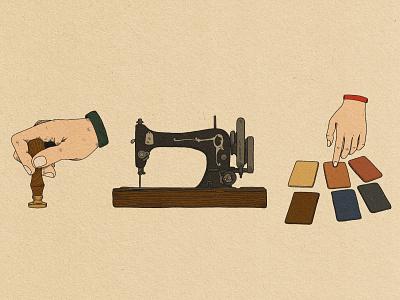 Harbinger Leather Design Process Icons leather illustration design branding adventure