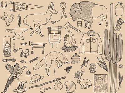 Compendium packaging desert explorer illustration design branding adventure