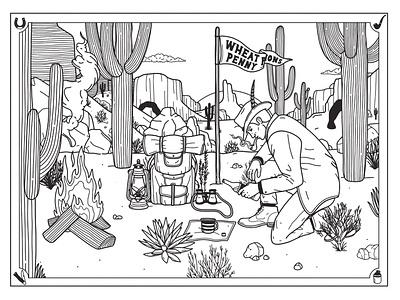 Lonesome desert explorer illustration design branding adventure