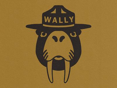 Wally sustainable woodworking smokeybear walrus oil wally logo illustration design branding adventure