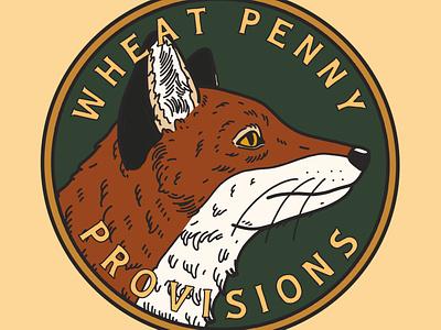 Wheat Penny Provisions Alternate Logo fox explorer logo illustration design branding adventure
