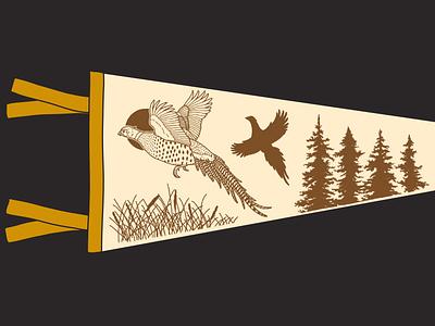 Pheasant Pennant Mock-up landing page midwest pheasant illustration design branding adventure