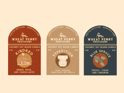 Wheat Penny Provisions Candle Labels freelance packaging design icon candle logo illustration design branding adventure