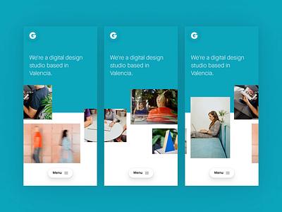 Gusta – About page carousel about design studio digital design webdesign portfolio website
