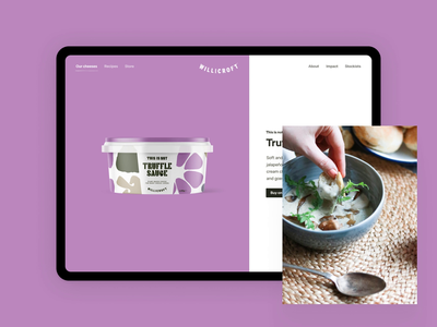 Willicroft Website - Product Page shop ecommerce packaging product page marketing site vegan cheese willicroft website design website