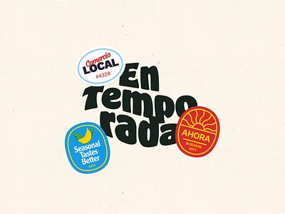 En Temporada preview retro vegetables fruit stickers side project calendar illustration website teaser