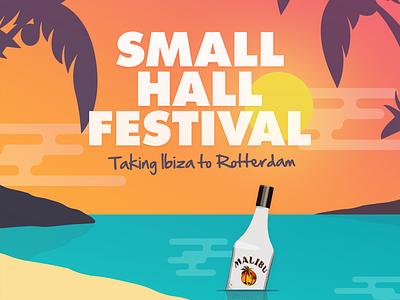 Small Hall Festival party festival flyer orange sun vector illustration sunset ibiza