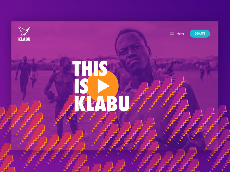 Klabu – Header sport club sport website foundation duotone color overlay play video header colorful pattern