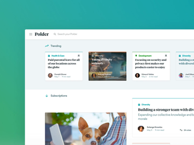 Polder – Dashboard Prototype tiles papers tags search navigation internal communications framer polder dashboard prototype