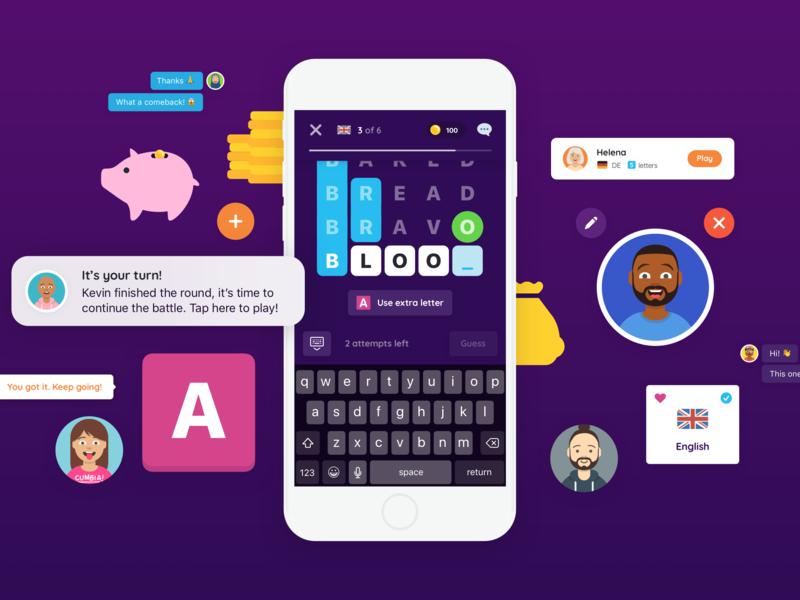 WordMingle tablet mobile mobile games gaming illustrations mobile game words color game app wordmingle