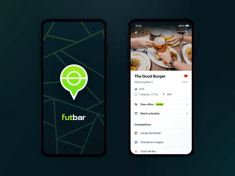 Futbar App - First Proposal sports match soccer bar football android ios mobile app