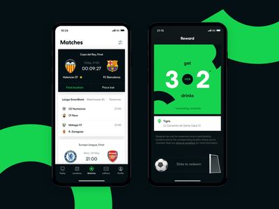 Futbar App - New Design map watch bar soccer sports football ios mobile app android
