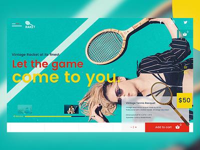 Rakèt Vintage Racket Website app design design web follow me frontend design concept design ui design adobexd design website design