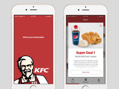 KFC mobile app ios app delivery food mobile kfc