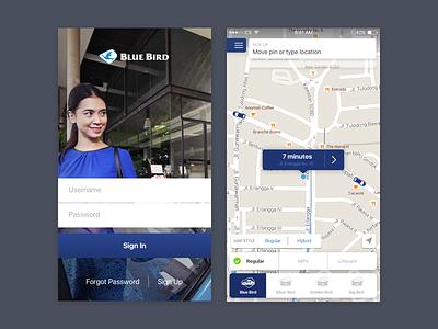 Blue Bird transport ride consumer dispatching taxi bird blue