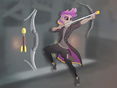 Punk Street Archer arrow bow punk neon archer digitalart illustration
