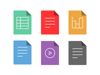 File Type Icons iconography spreadsheet pdf presentation text video