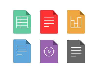 File Type Icons iconography spreadsheet pdf presentation text video