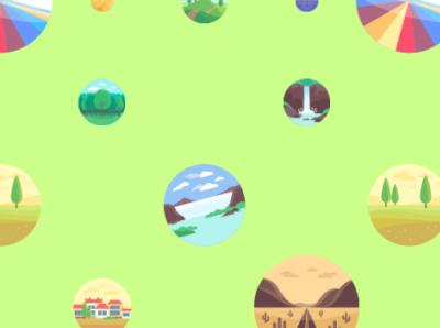 Landscape pattern logo illustration design branding animation