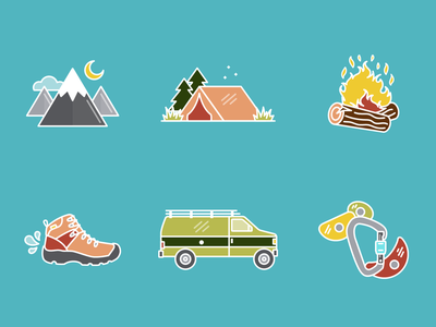 Outdoorsy Icons boot carabiner climbing camping hiking vanlife van gogh mountains tent camp fire outdoors adventure icon design iconography iconset icons brand identity illustration vector design