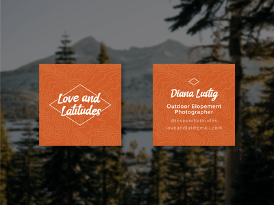 Business Cards for Love and Latitudes adventure design outdoors design brand identity design elopement wedding photography outdoors illustration branding business cards