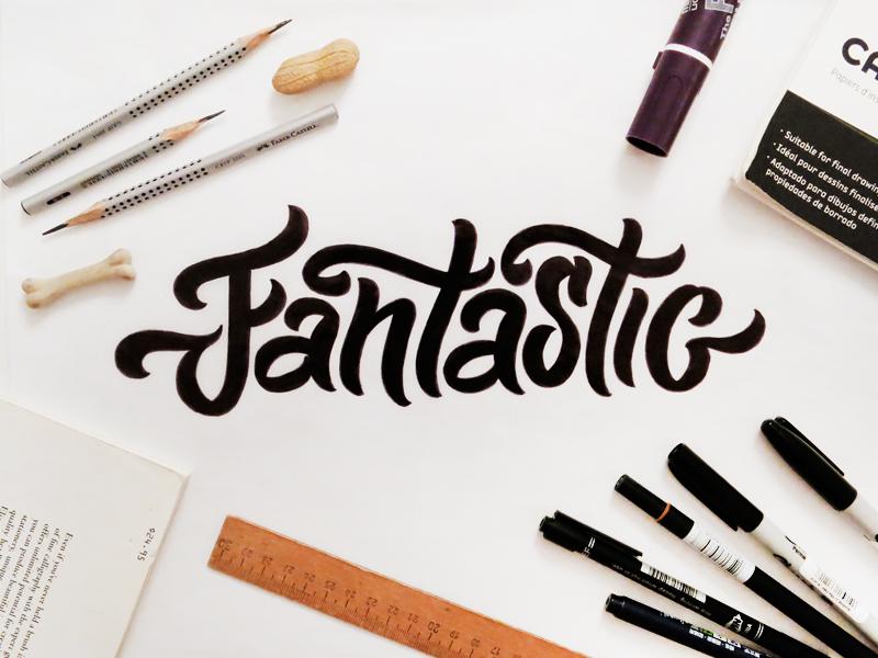 Fantastic lettering typography custom lettering script brush curves fantastic sketch photo