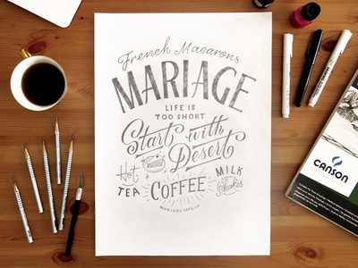 Mariage lettering typography custom lettering brush brush lettering script type layout coffee photo composition