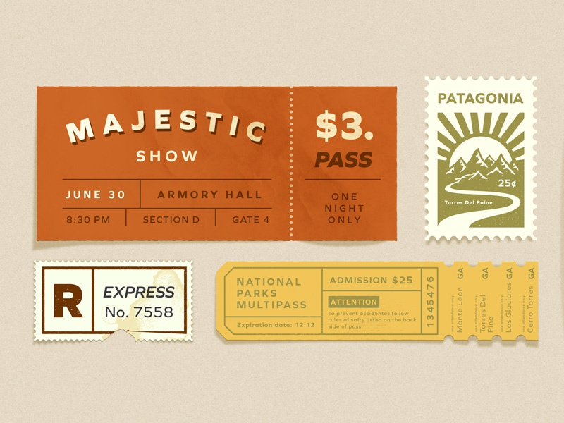 hero image typography design tickets old vintage texture illustration. stam details pass