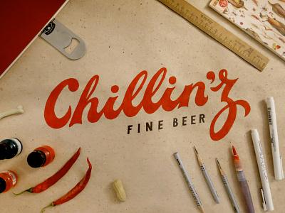 Chillin'z 2 type typography lettering logo logotype beer design sketch photo script bold