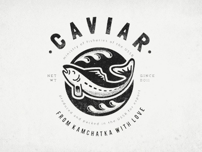 caviar clothes print caviar t-shirt print old-fashioned black salmon fish shabby threadbare washed out retro illustration typography