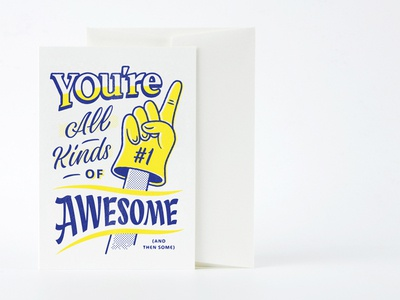 Awesome Card layout illustration typography lettering postcard