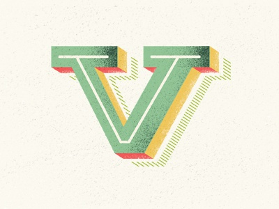 self_logo lettering typography retro texture old-fashioned letter v initials vector