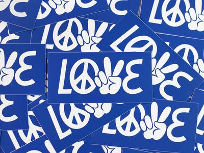 Love Stickers logo olga vasik illustration typography lettering peace love design lable tag sticker
