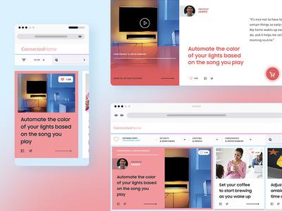 Connected Home Hub platform gallery filter card grid webdesign ux ui mobile app