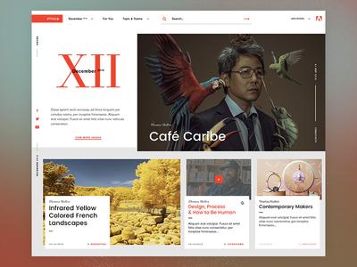 Blog platform layout grid adobe web news design typogaphy ui