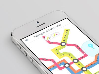 MetroLite Map map washington dc metro mobile app ios sencha re-design flat clean simple minimal concept