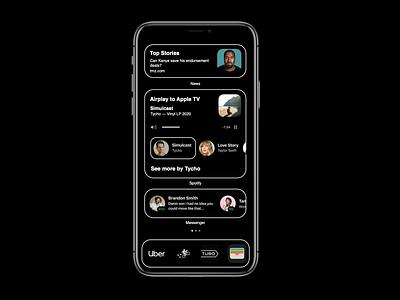 iOS Music Widget high contrast spotify ios14 widgets principle motion concept black ios interaction mobile clean ux ui
