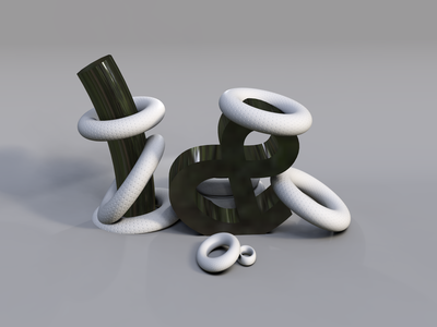 Untitled shadow depth black  white ring ampersand letters shapes shine black grey vectary 3d thing