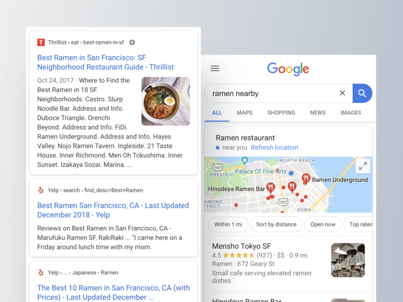 Attribution across Google (Local) Search by Alexxx on Dribbble