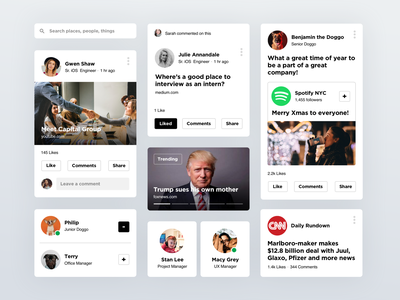 Social Component Kit visual design system cards design app clean white interaction mobile ux ui