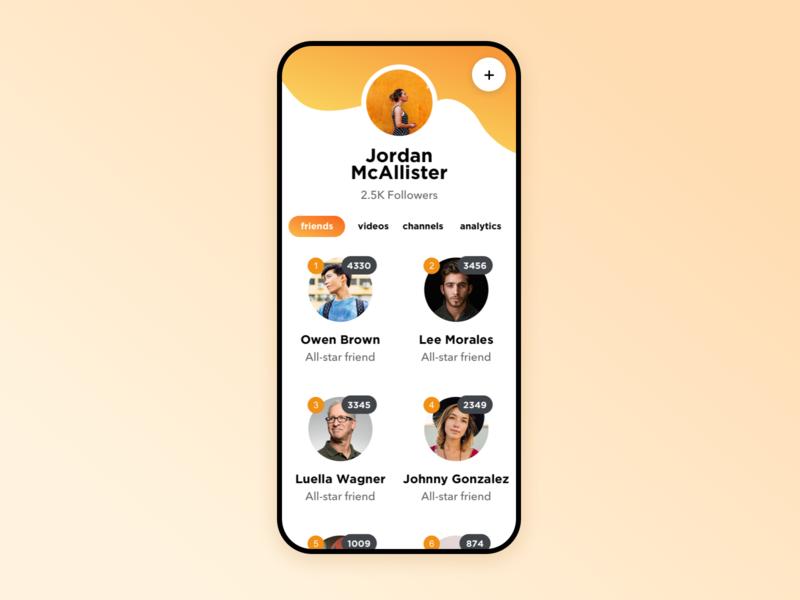 Profile profile friends list avatar color orange ios clean interaction white mobile ux ui