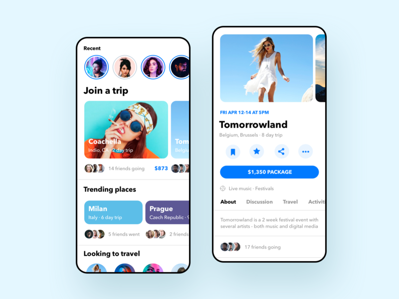 Travel App v2 color minimal ios concept travel event blue and white teal blue clean white mobile ux ui