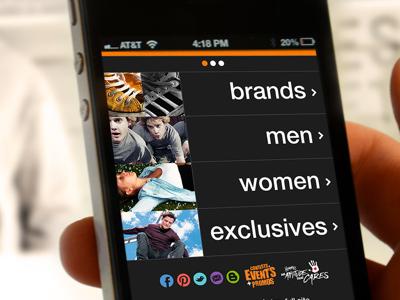 Journeys Footwear journeys interface interactive retail genesco ecommerce mobile ipad black skate minimal clean social web orange shop ios