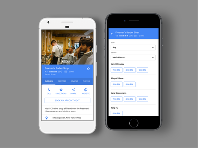 Bookings across Google [Throwback] blue google app ios clean interaction white mobile ux ui