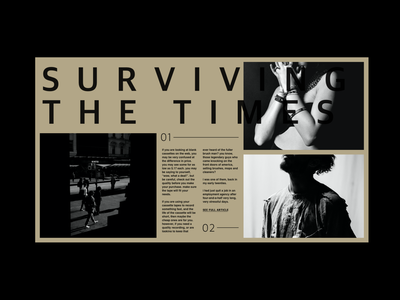 Surviving the times grids color kerning whitespace man woman web clean typography minimal black gold helvetica greyscale grid layout type exploration