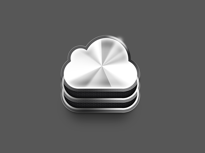 Cloud Icon cloud recovery color icon vector data disk black skuemorphic white silver skeumorphic