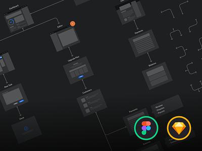 Dark UI Wireflows journeys ux flow cards flowchart prototyping