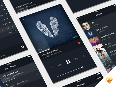 Music Player UI Kit queue playlist album music player music freebie free ui kit sketchapp sketch