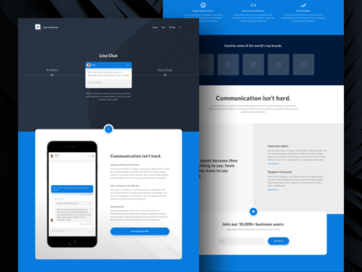 App Landing Page - Preview quote live chat app minimal landing page freebie sketch