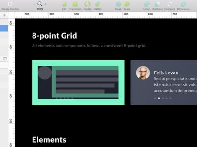 8-point Grid components elements card sketchapp grid